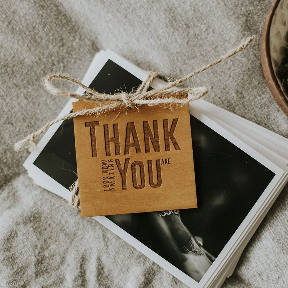 wooden thank you cards