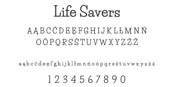 font 7 life savers 20